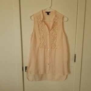 Light Pink Button Up Tunic w/Lace and MOP Buttons